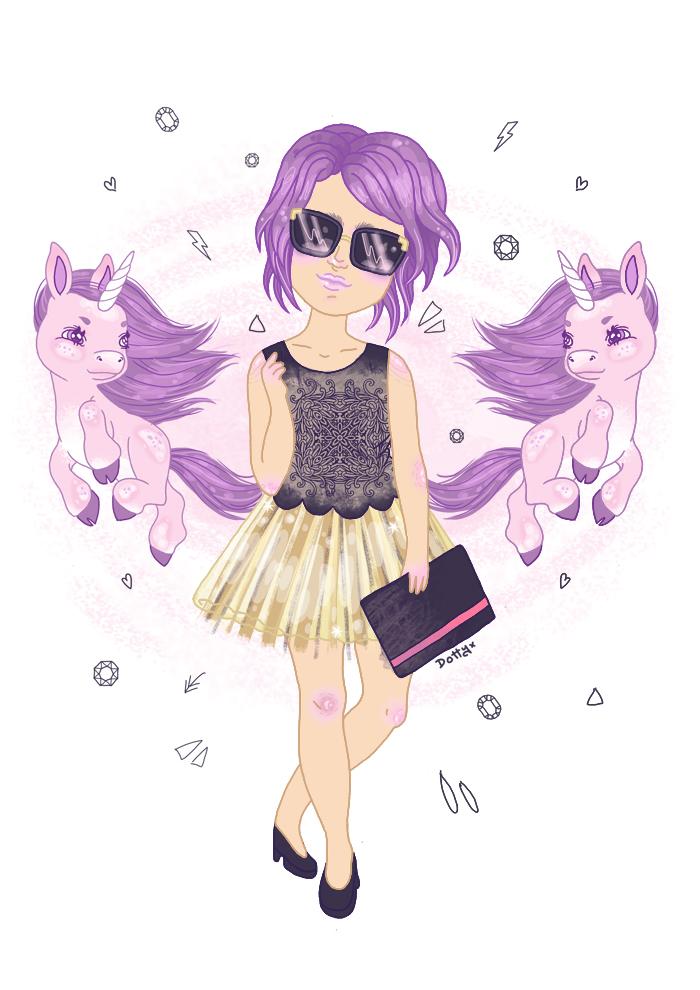 Emily Unicorn Fashion illustration