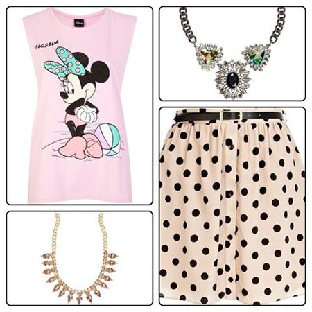 minnie mouse spot skirt necklaces