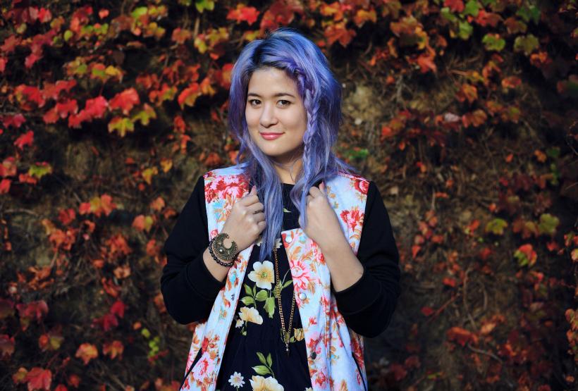 Emily unicorn floral bomber
