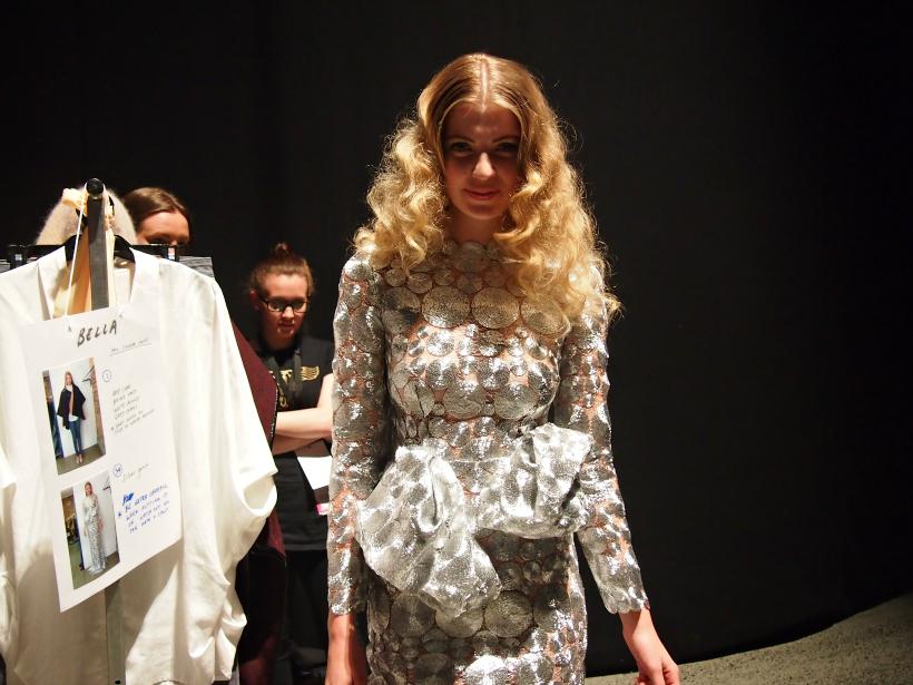 Hailwood nzfw 13 backstage dress silver