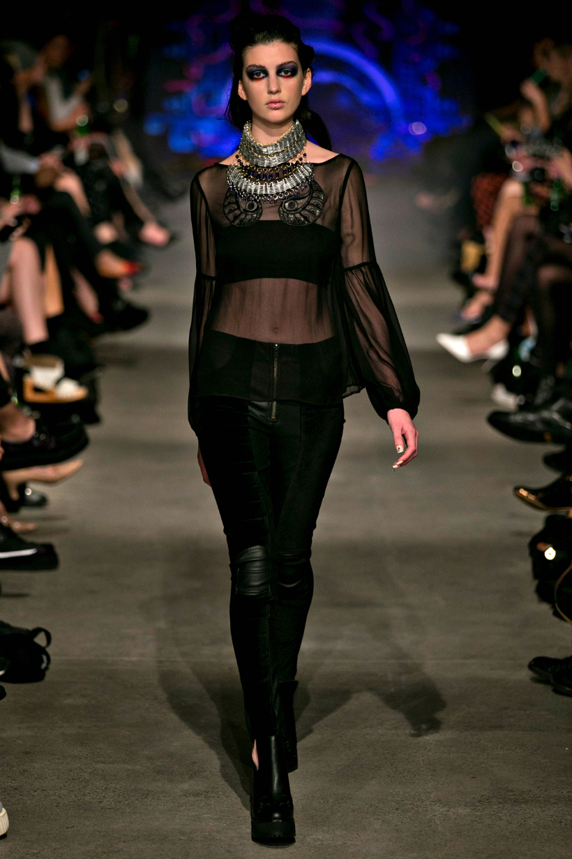 Stolen girlfriends club nzfw 2013 safety pin necklace sheer top
