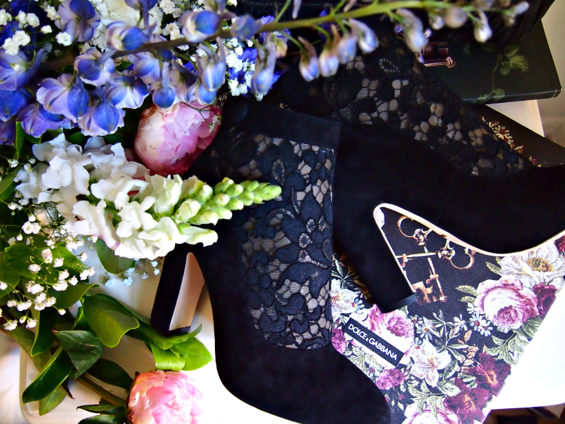 Dolce gabbana vally heels lace shoes flowers