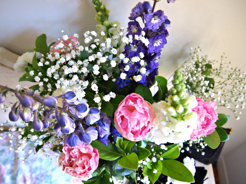 Flower bouquet peonies snapdragons floral carnation pretty