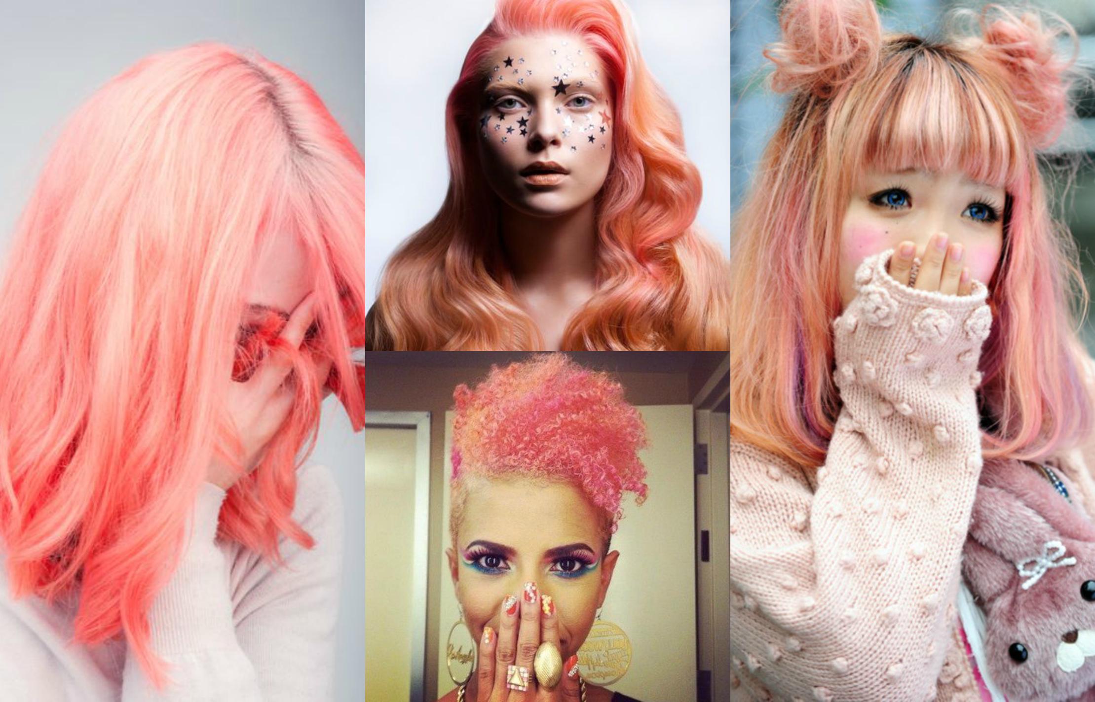 coral peach pastel hair