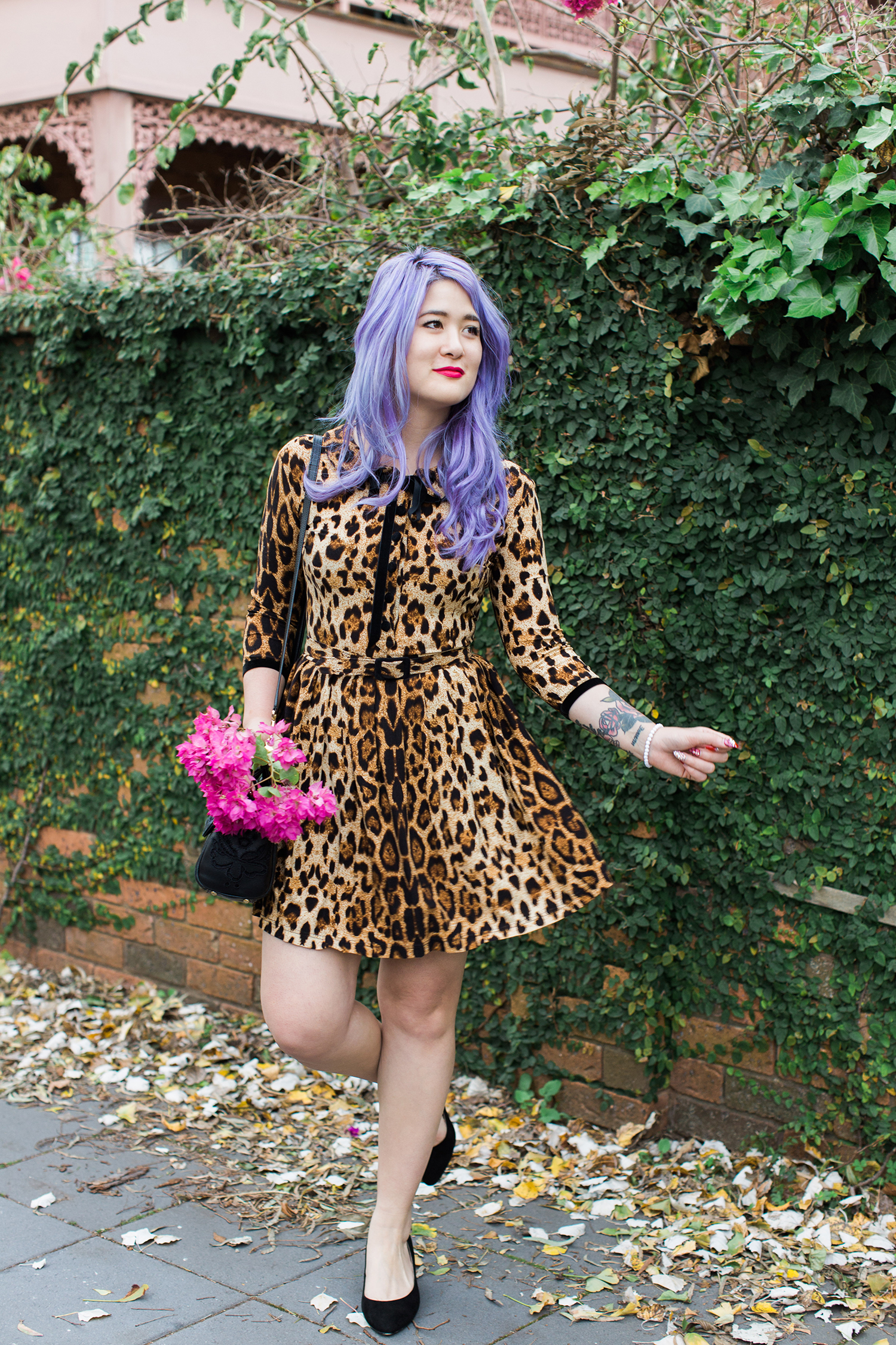 wheels and dollbaby leopard day dress