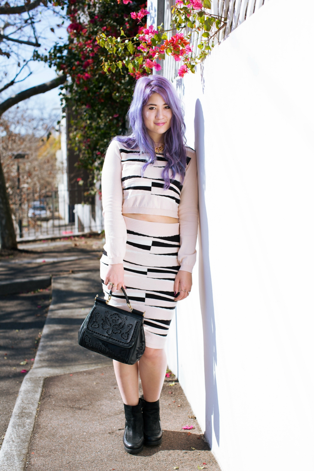 emi unicorn knit outfit pastel hair purple