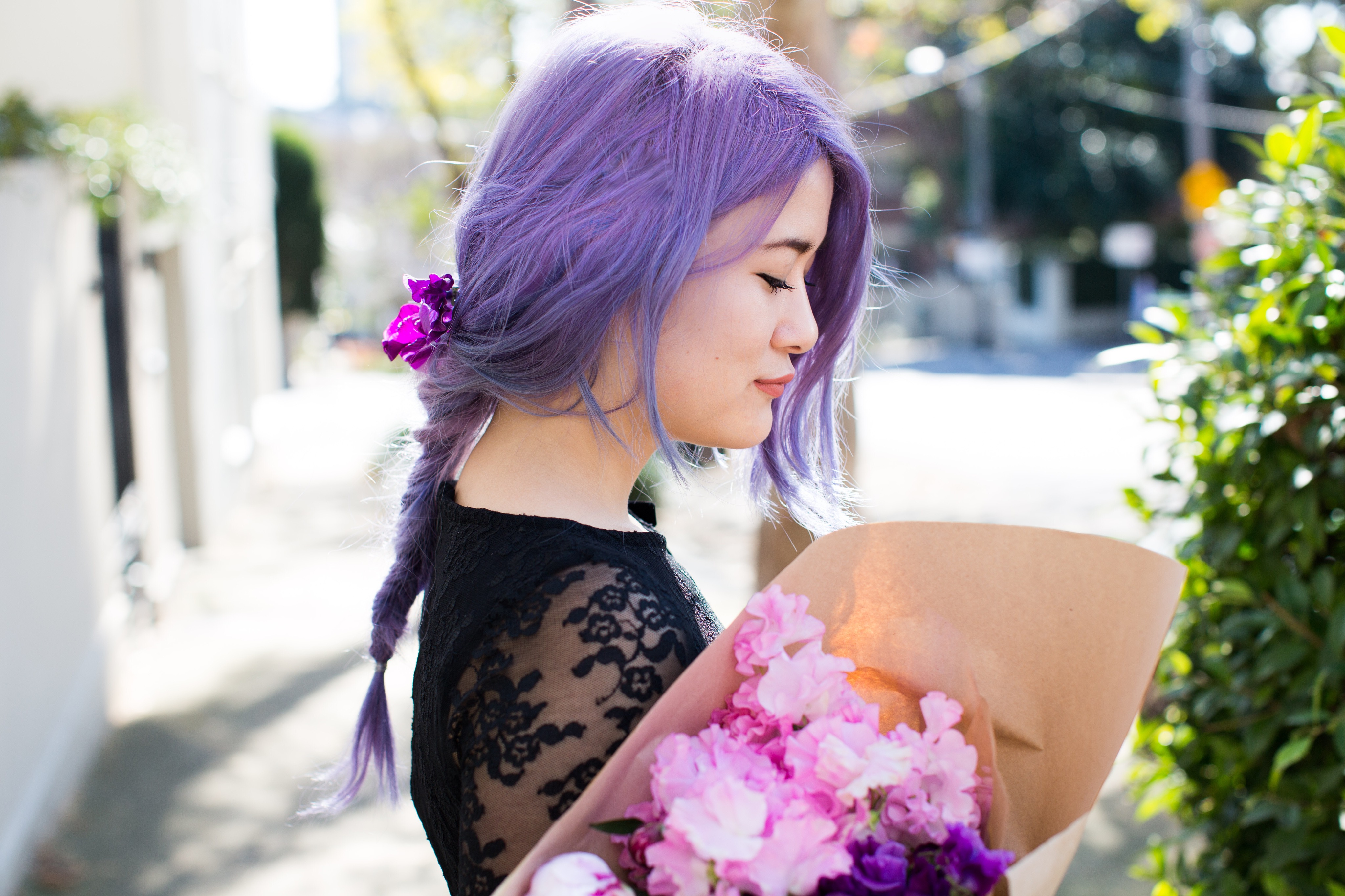 emi unicorn purple pastel hair