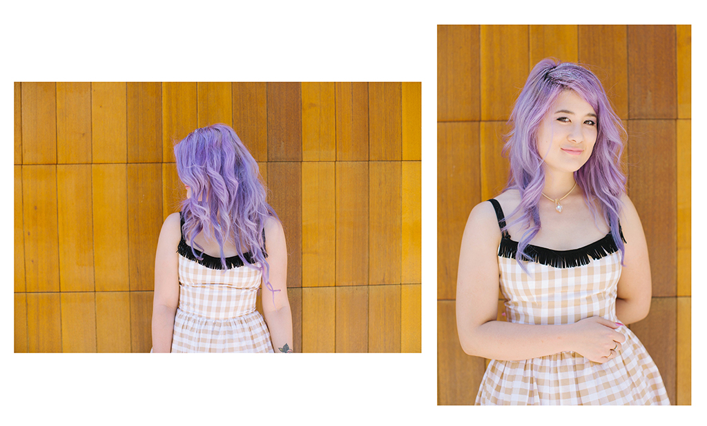 Gingham Emi Unicorn Purple pastel hair 1