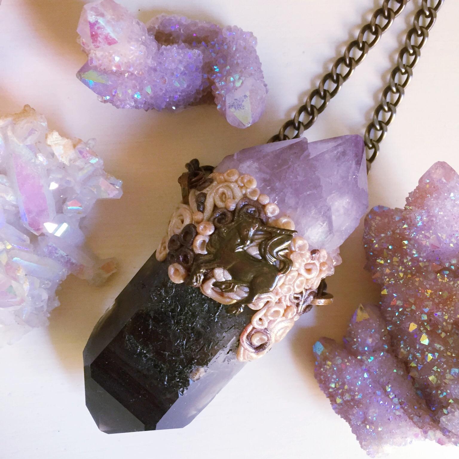 smoky quartz amethyst unicorn necklace crystal